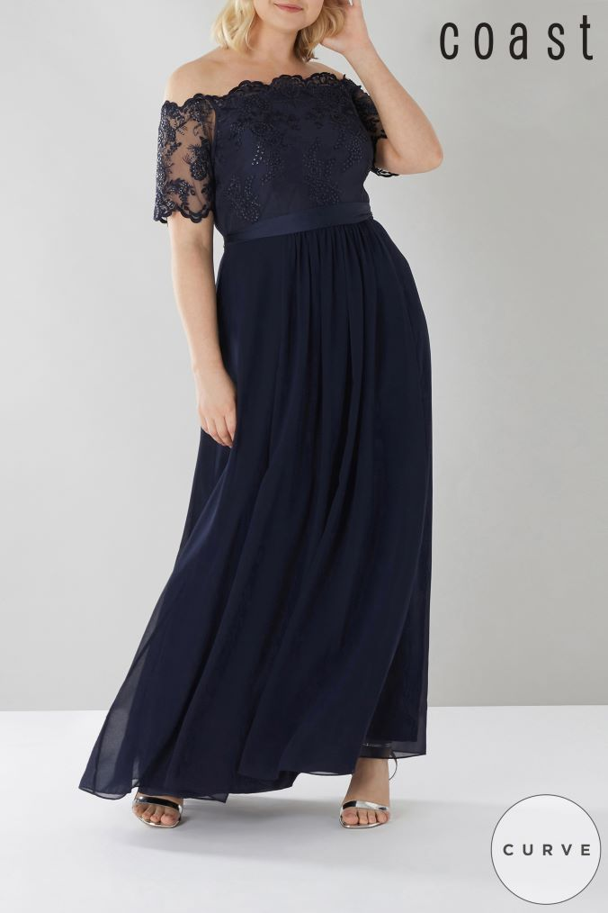 womens coast curve maddie embroidered maxi dress -  blue