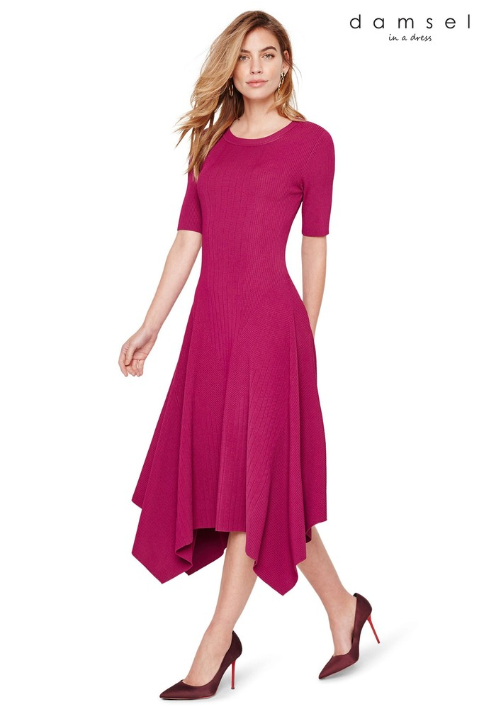 Womens Damsel In A Dress Purple Deena Full Skirt Knitted Dress -  Purple