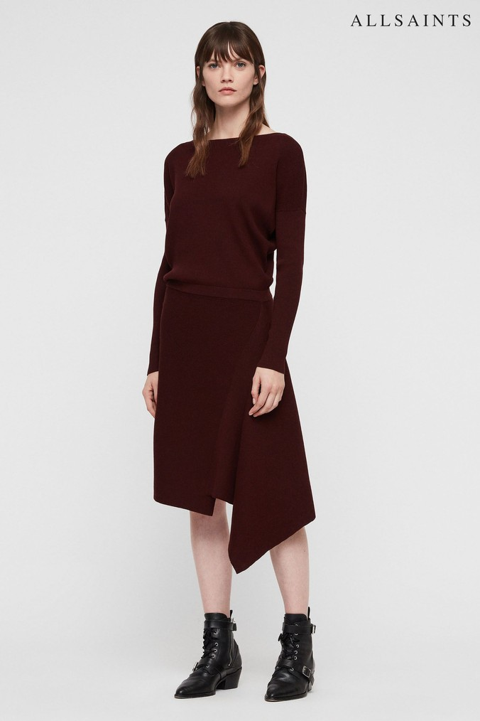 Womens All Saints Burgundy Knitted Suke Midi Dress -  Red