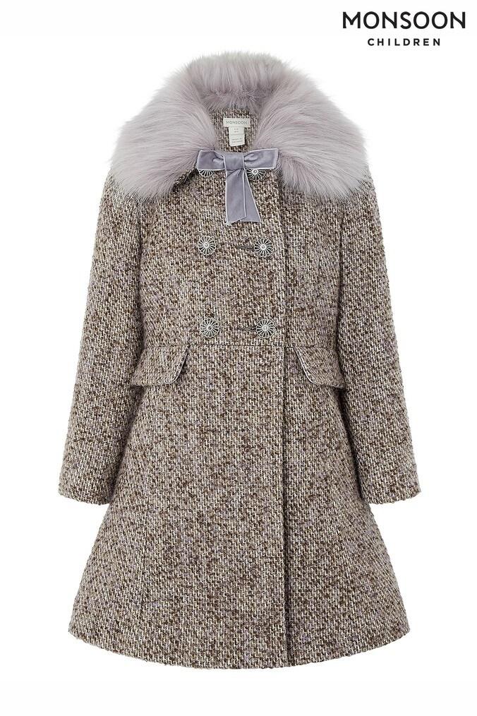 812ff7ace Girls Monsoon Lavender Tweed Coat - Purple