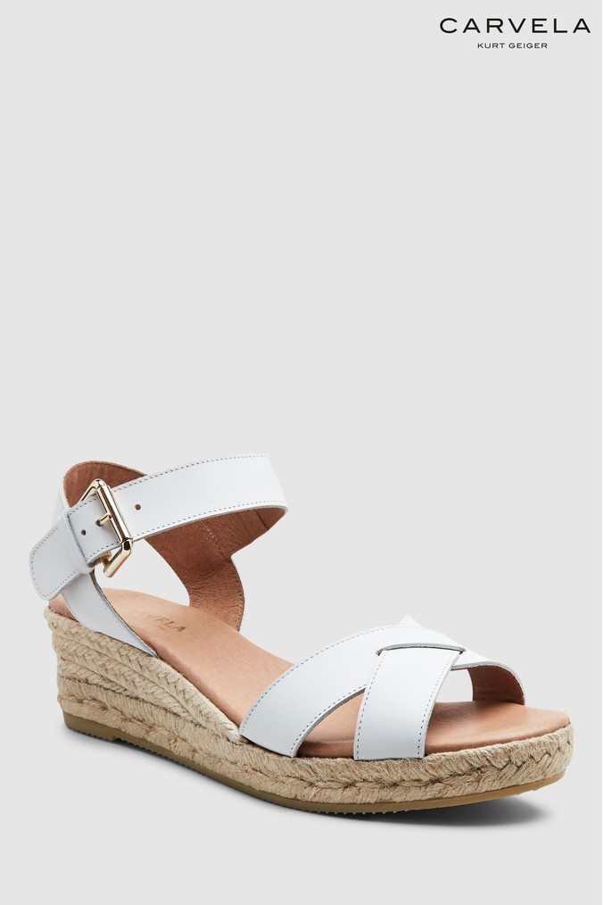 8c843a30bc3d Womens Carvela Comfort White Leather Shirley Sandal - White