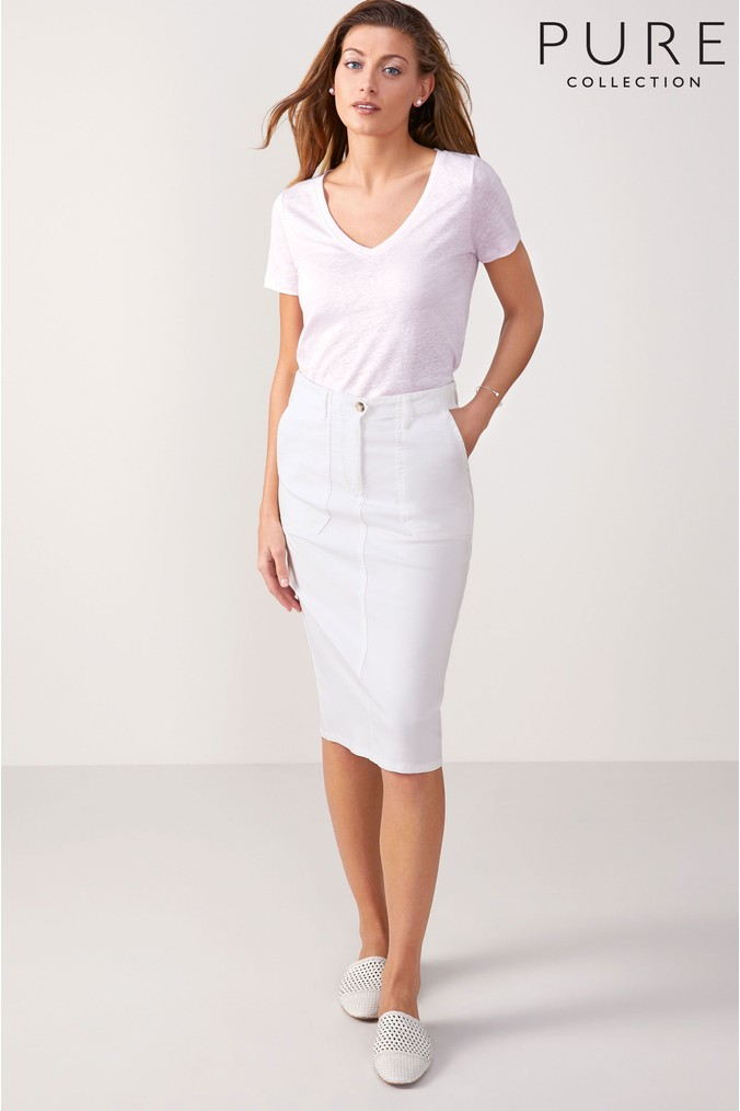 Womens Pure Collection Chino Pencil Skirt -  White
