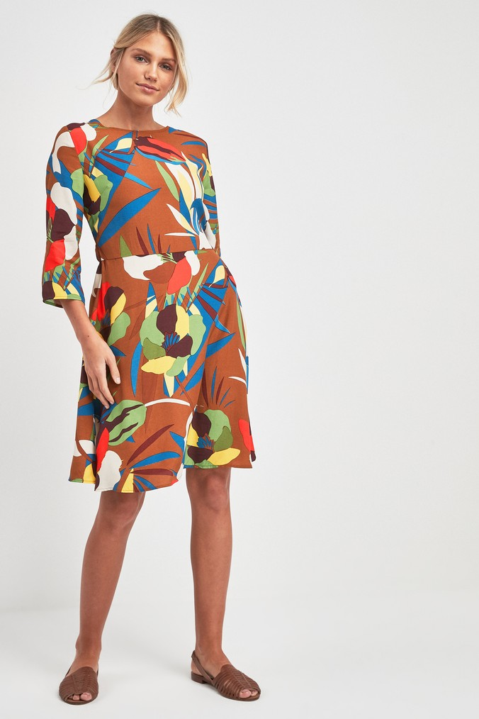 Womens Next Brown Floral Print Fit And Flare Dress -  Brown