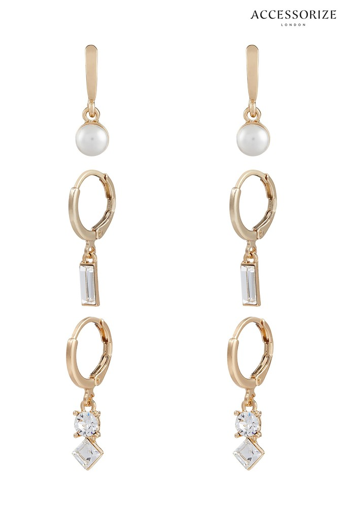 Womens Accessorize Gold Tone Hoop Set With Swarovski Crystals -  Gold