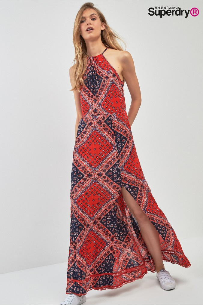 Womens Superdry Red Boho Maxi Dress -  Red
