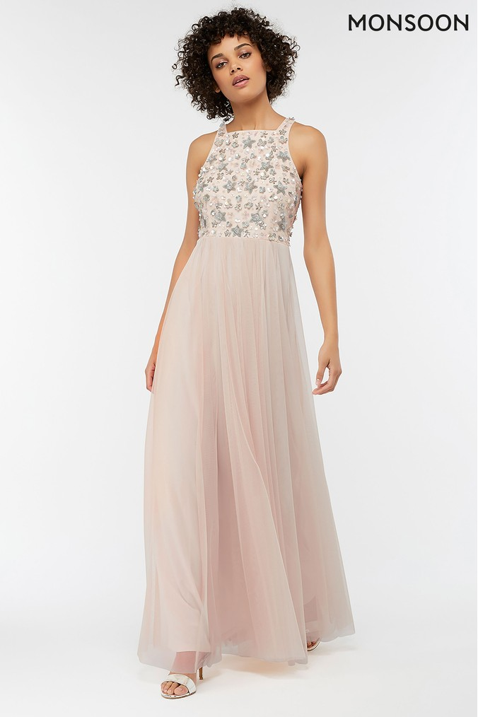 Womens Monsoon Nude Constance Sequin Embellished Maxi Dress -  Nude