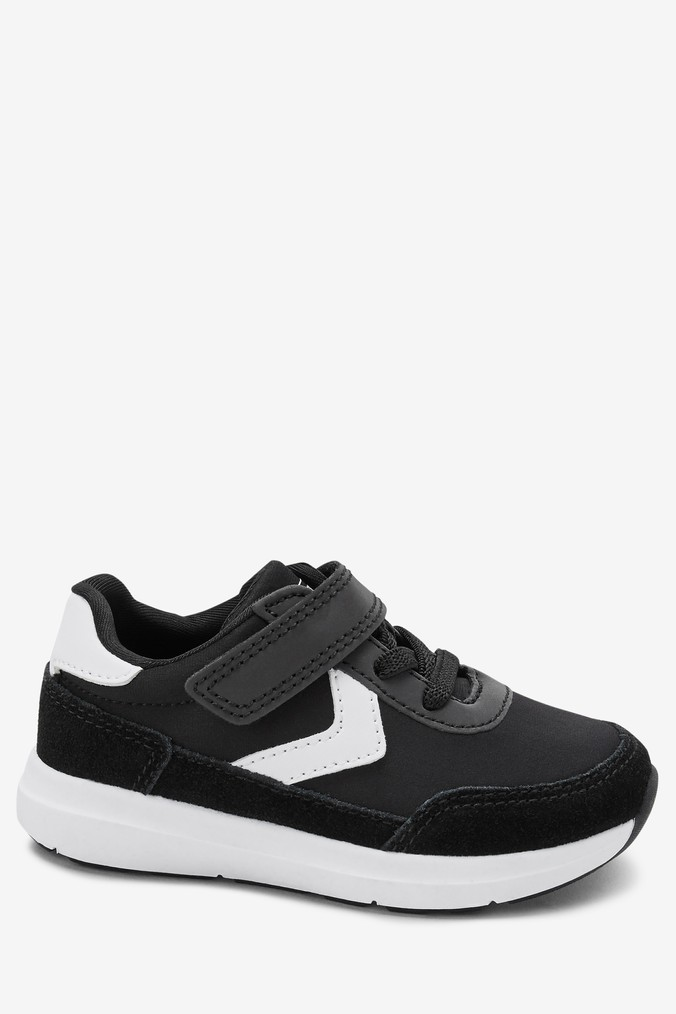 e797797366ae Boys Next Black Elastic Lace Runner Trainers (Younger) - Black ...