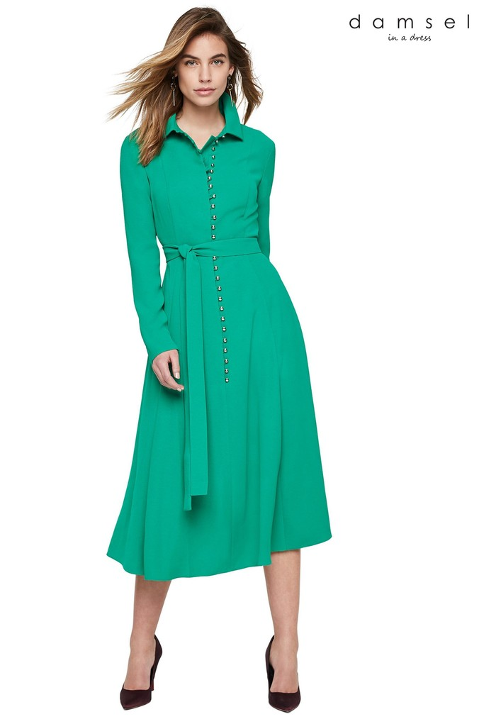 Womens Damsel In A Dress Green Lanie Military Dress -  Green