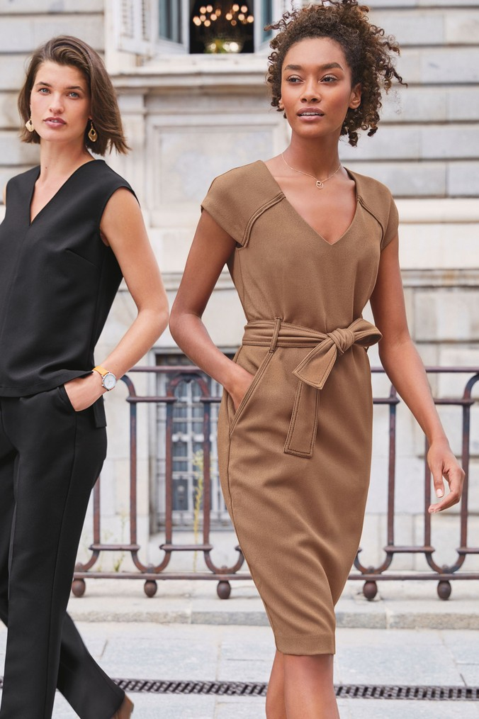 Womens Next Tan Belted Bodycon Dress -  Brown