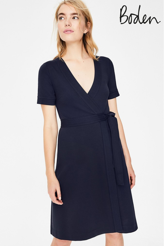 Womens Boden Blue Mira Ponte Wrap Dress -  Blue