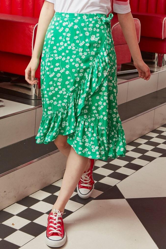 Girls Next Green Midi Skirt (3-16yrs) -  Green