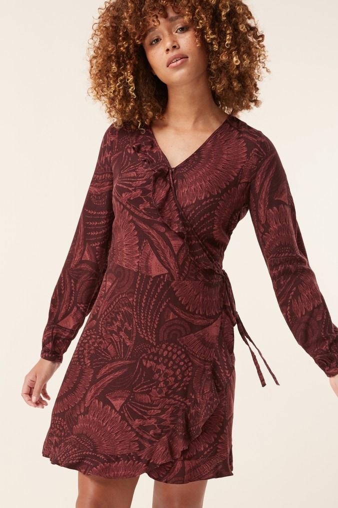 Womens Next Feather Print Wrap Dress -  Brown