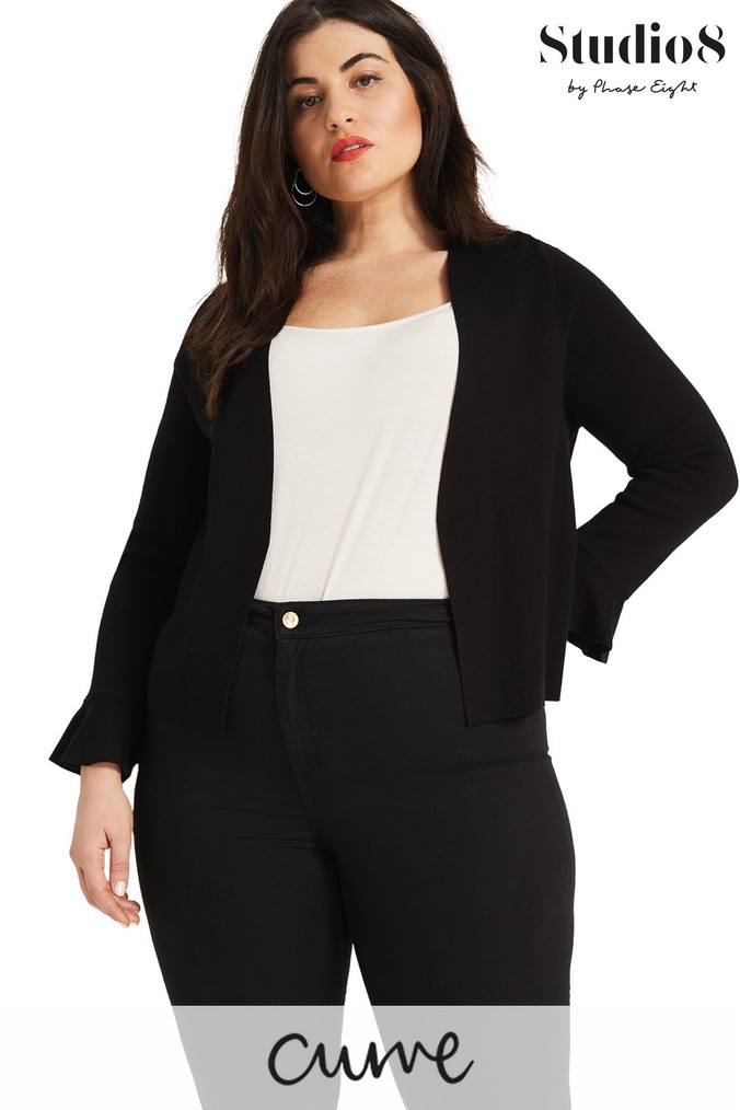 Womens Studio 8 Black/Olive Knitted Cover Up -  Black
