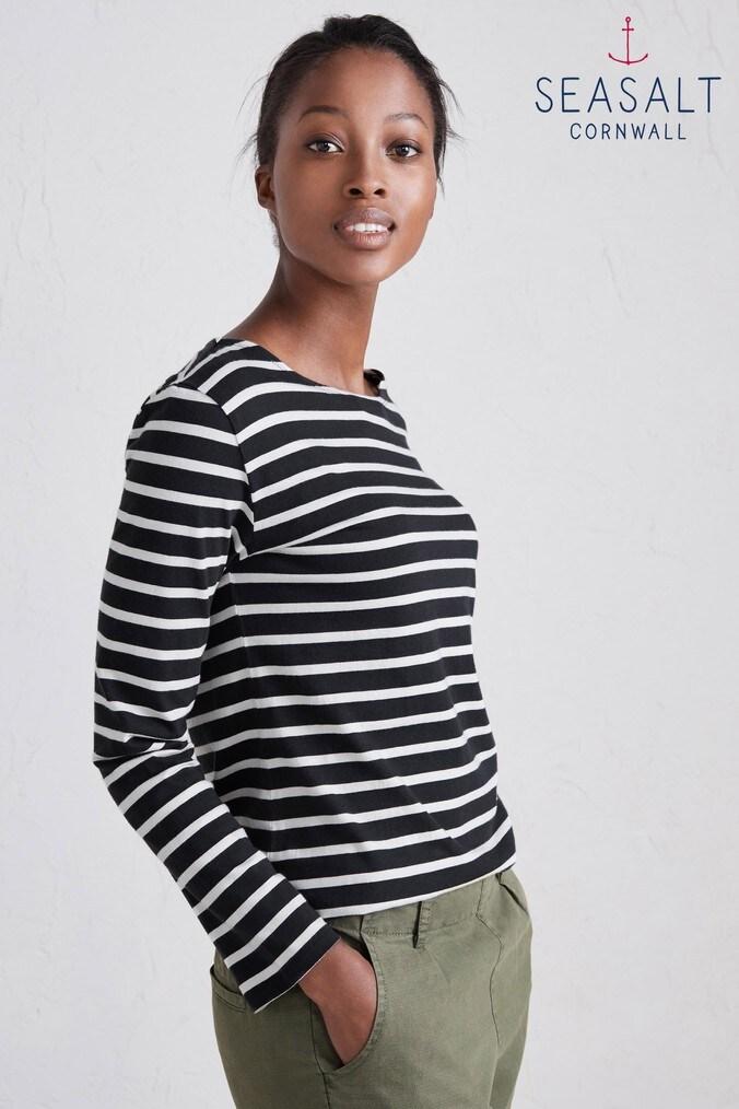 b46e6403 Womens Seasalt Breton Black Ecru Sailor Top - Black - £30.00 - Bullring &  Grand Central