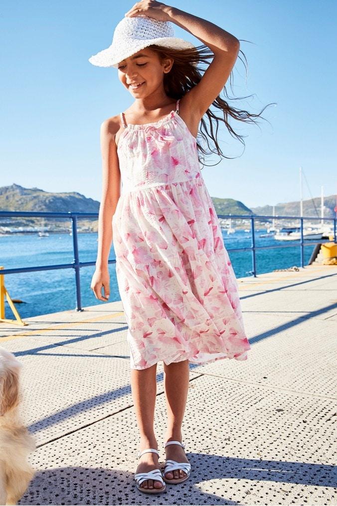 Girls Next Pink Butterfly Print Maxi Dress (3-16yrs) -  Pink
