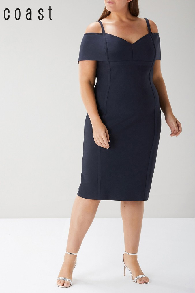 womens coast blue curve larson knit shift dress -  blue