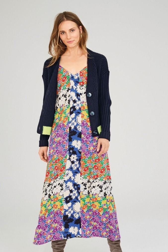 Womens Next Bright Floral Print Mix Dress -  White