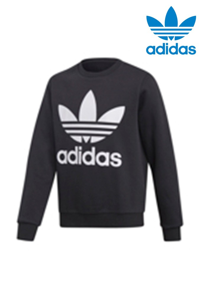 9e89edf8e2bd Girls adidas Originals Black Trefoil Crew - Black