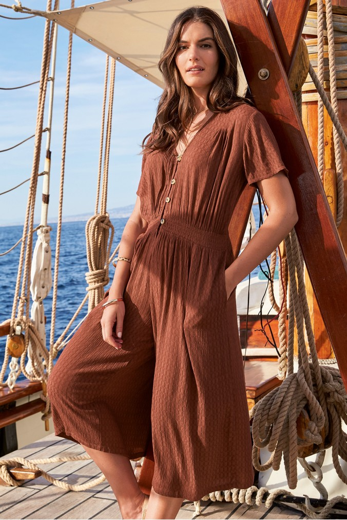 Womens Next Tan Textured Culotte Jumpsuit -  Brown
