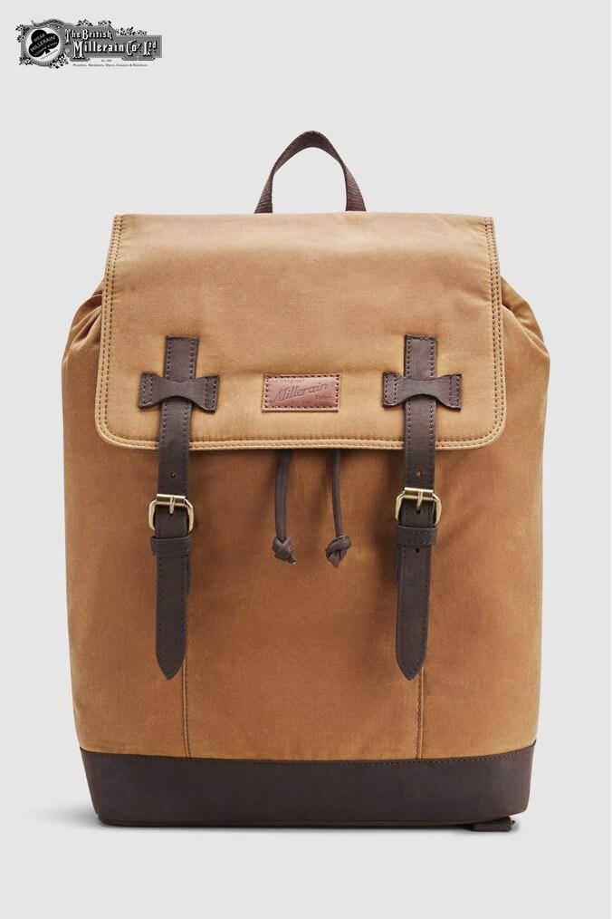 Mens Next Tan British Millerain Fabric Rucksack -  Brown