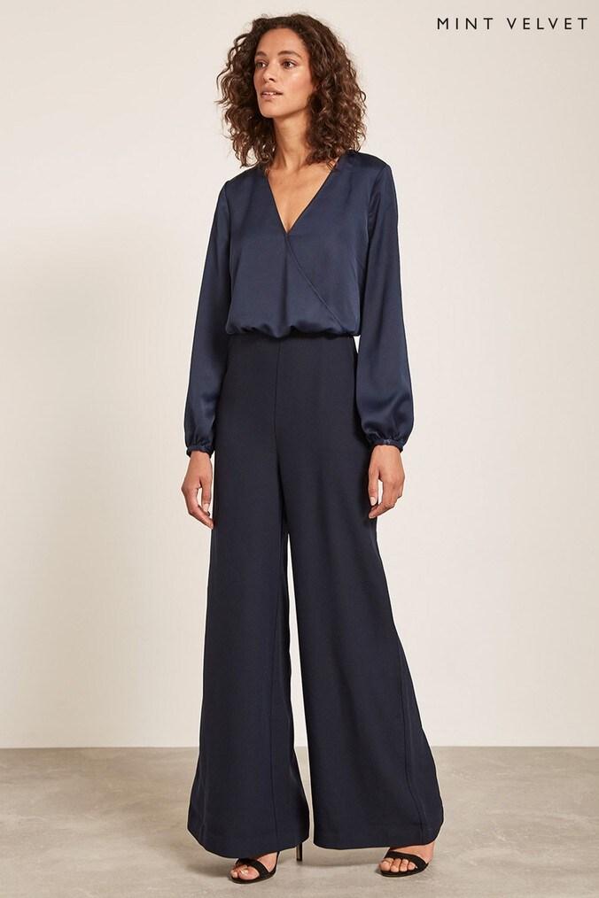 Womens Mint Velvet Blue Satin Wide Leg Jumpsuit -  Blue