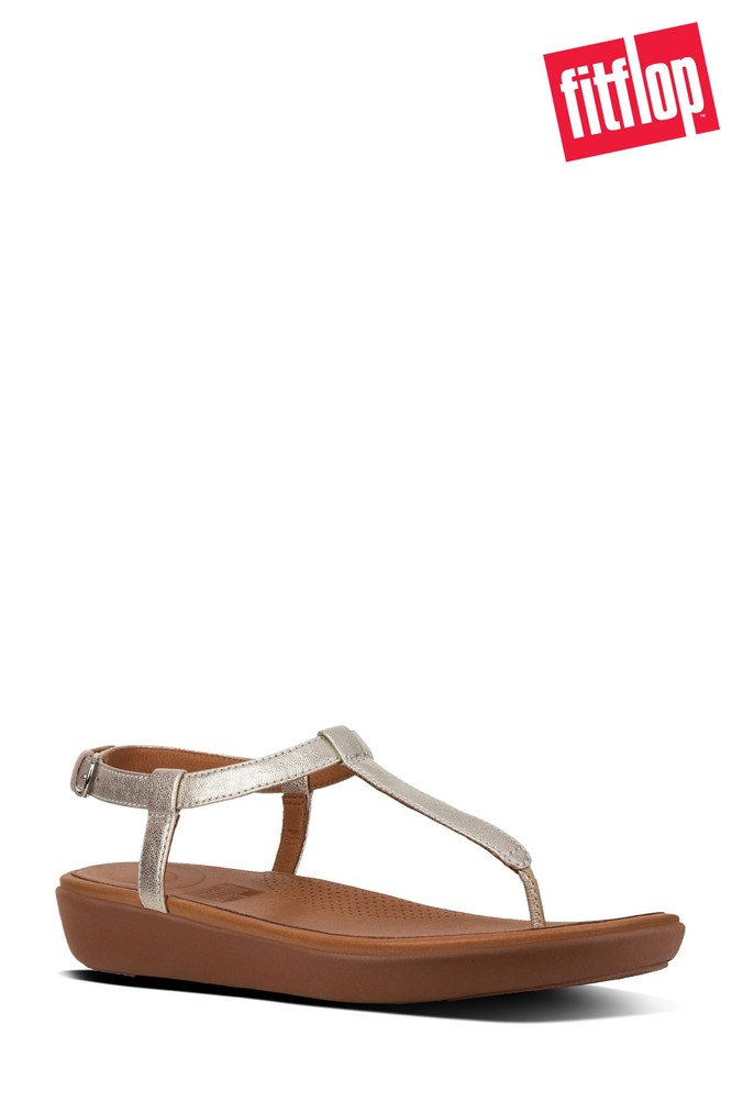 747b8373d Womens FitFlop Silver Tia Leather Sandal - Silver