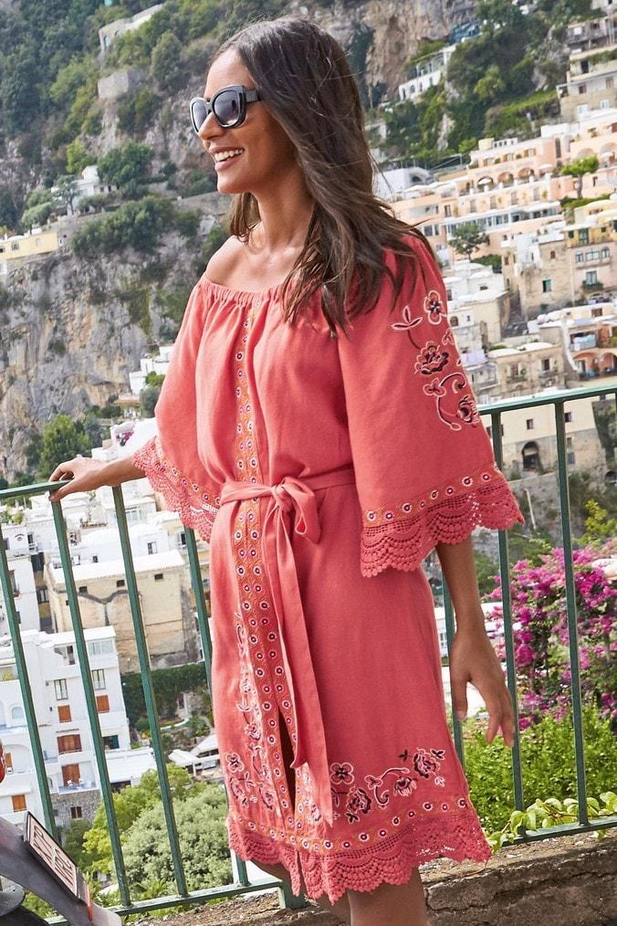 Womens Next Orange Embroidered Off The Shoulder Dress -  Orange