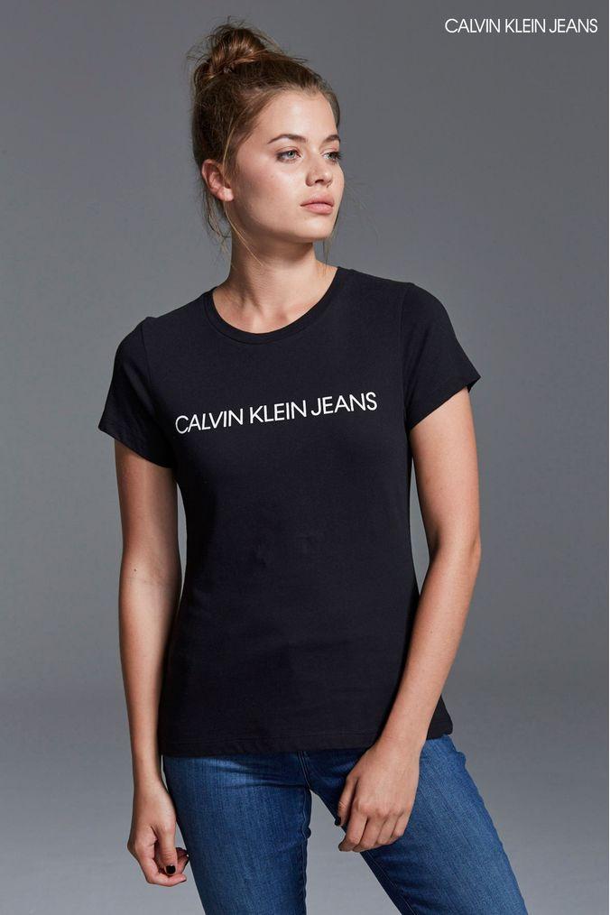 Klein Jeans Institutional T Shirt Logo Womens Black Calvin 5Bx4EwEU