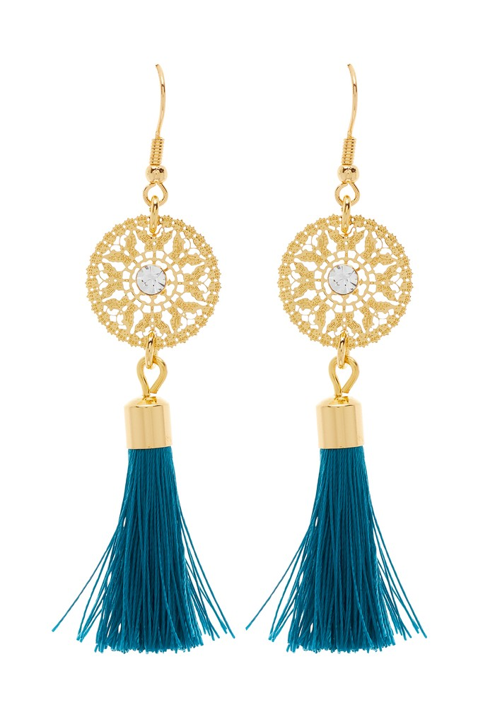 Womens Next Turquoise Tassel Drop Earrings -  Blue
