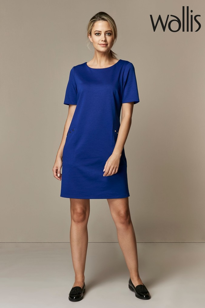 womens wallis blue petite stud ponte shift dress -  blue