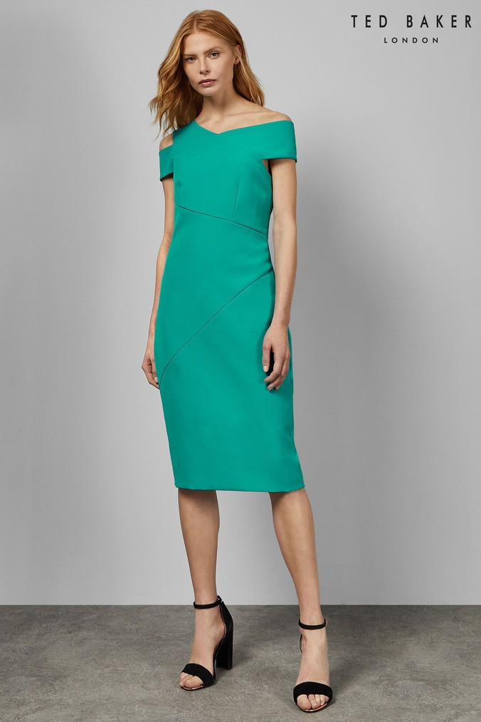 Womens Ted Baker Turquoise Wrap Bodycon Dress -  Green