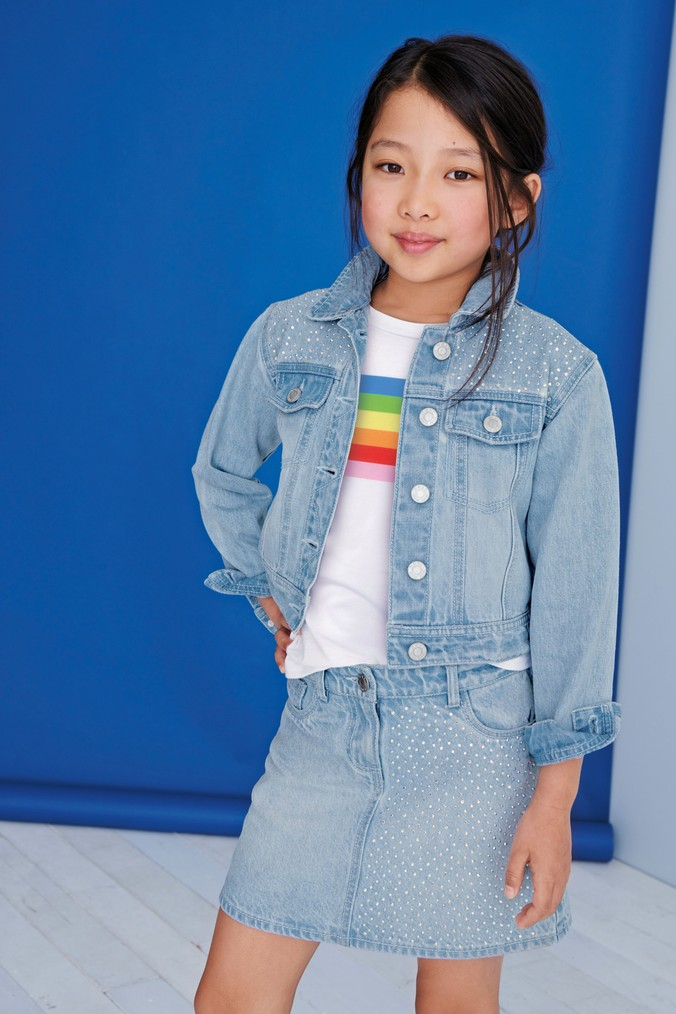 Girls Next Denim Sparkle Skirt (3-16yrs) -  Blue