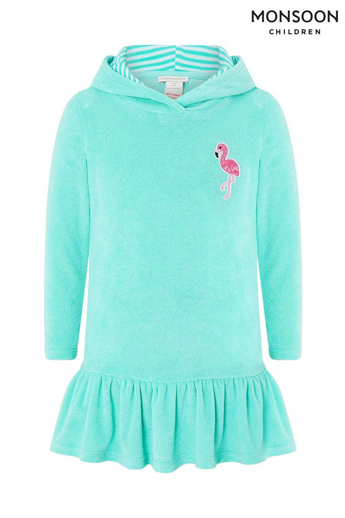 Girls Monsoon Turquoise Baby Finelle Flamingo Towelling Dress -  Blue