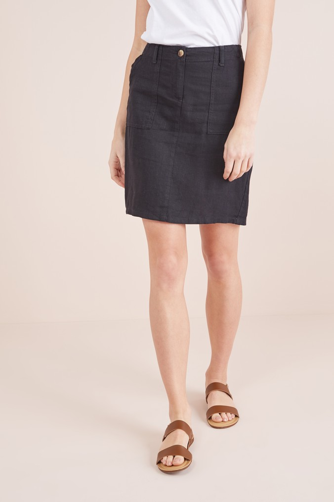 Womens Next Black Linen Blend Skirt -  Black