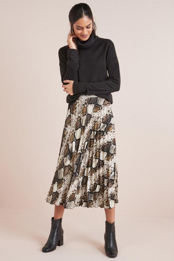 Womens Next Python Pleat Skirt -  Animal