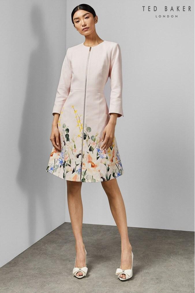 602c58680 Ted Baker Ottie Dress Coat In Chatsworth Jacquard - Dusky Pink