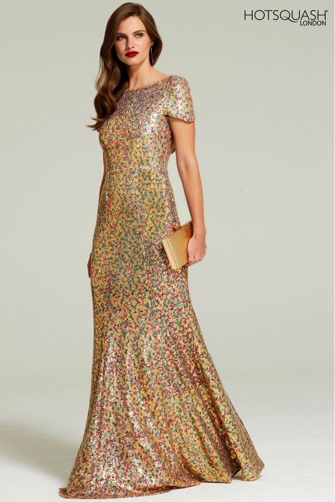 Womens HotSquash Gold Cowl Back Sequined Fishtail Maxi Dress -  Gold