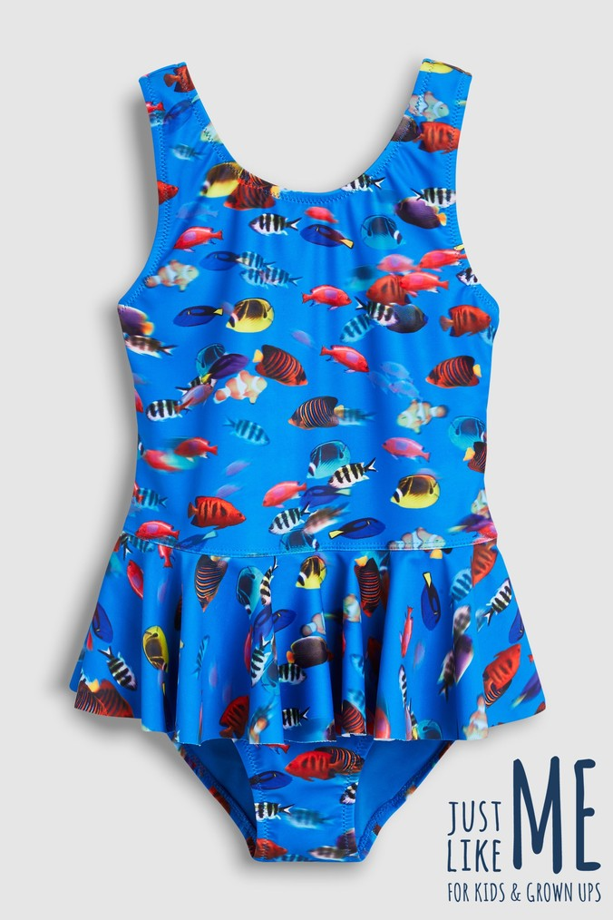 Girls Next Blue Fish Skirt Swimsuit (12mths-12yrs) -  Blue