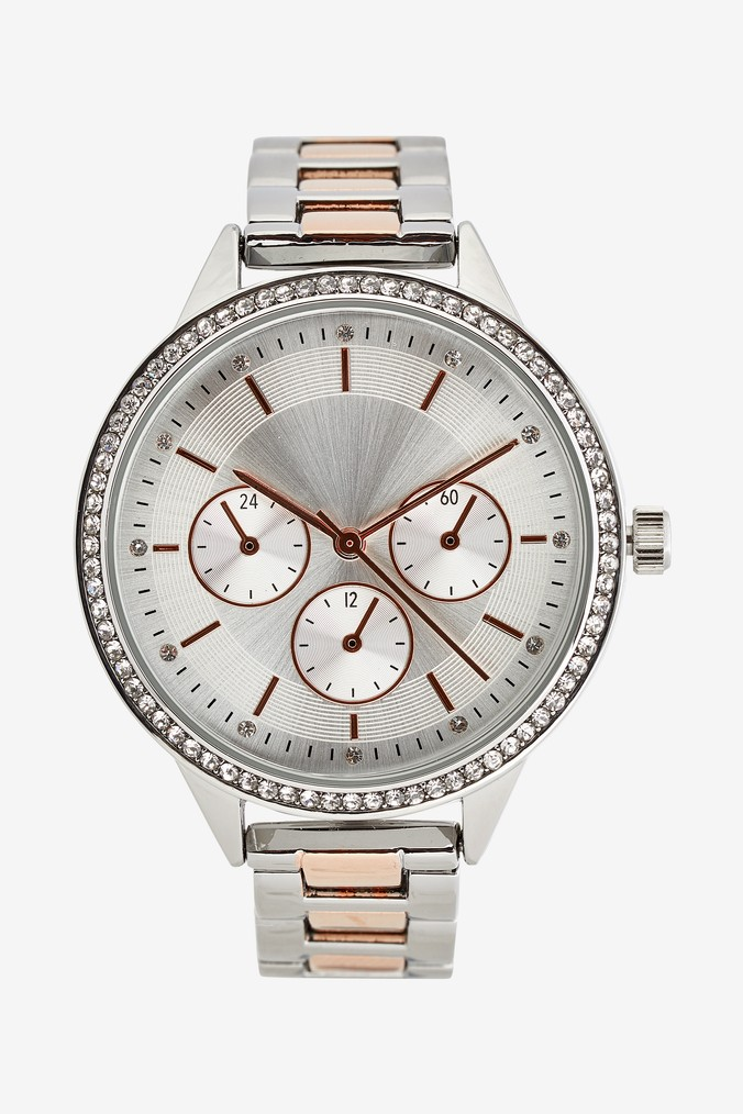 Womens Next Silver Tone Sparkle Boyfriend Style Watch -  Silver