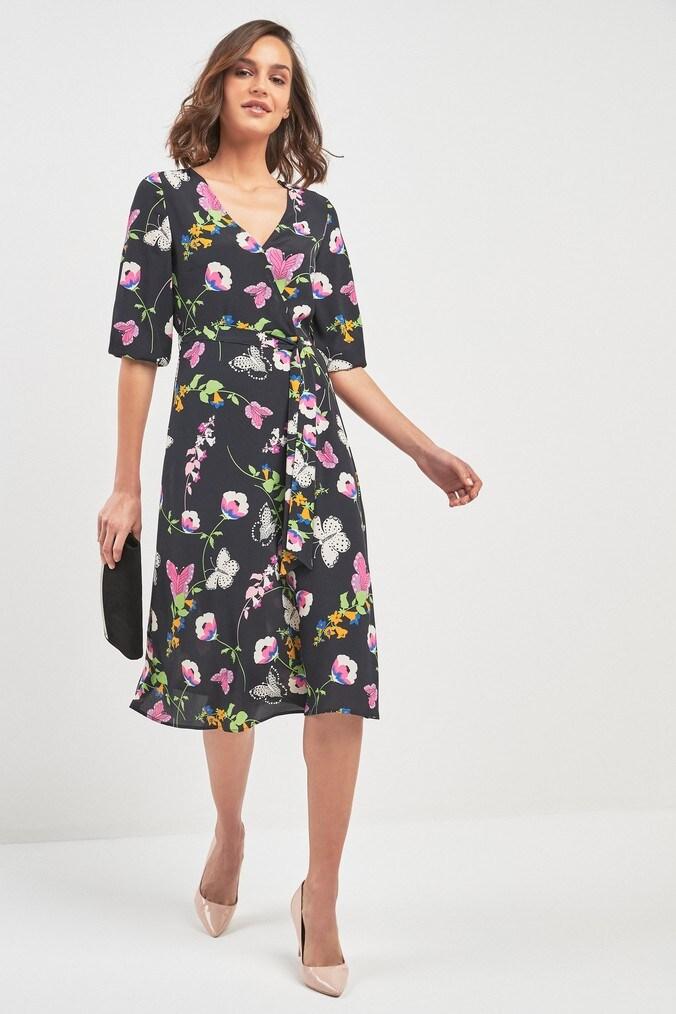 Womens Next Navy Butterfly Print Wrap Dress -  Blue