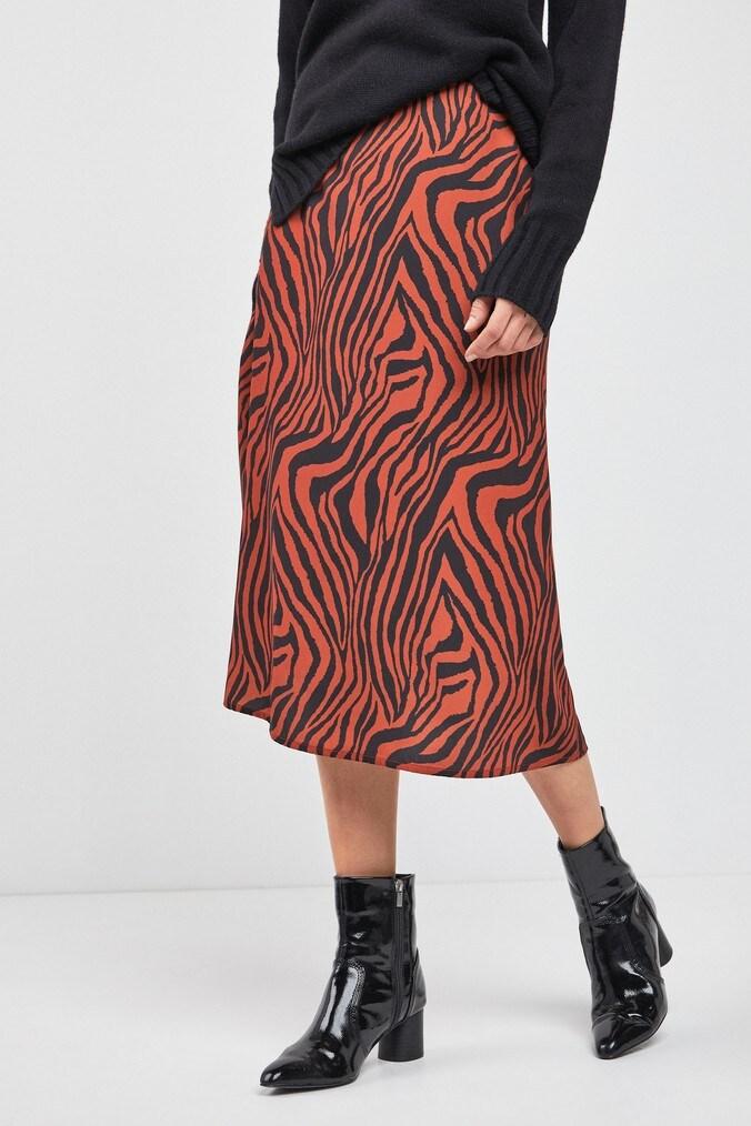 Womens Next Rust Animal Zebra Print Midi Skirt -  Orange