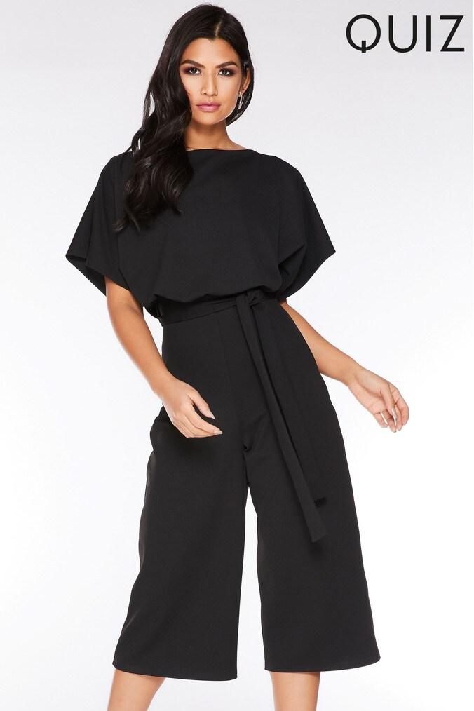 Womens Quiz Black Culotte Jumpsuit -  Black
