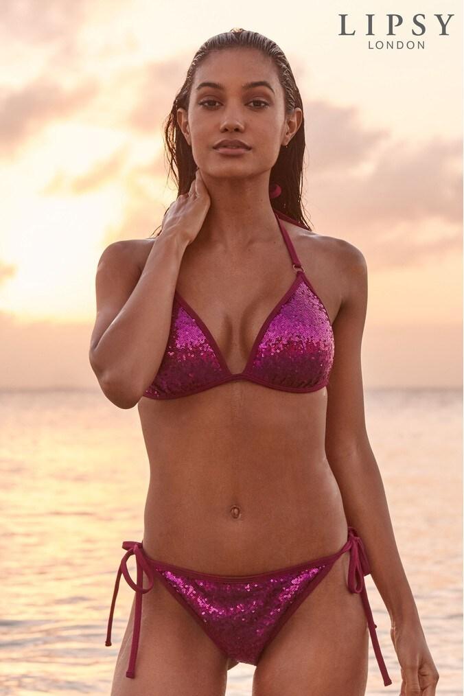 Lipsy Sequin Bikini Bottoms - 6 - Pink