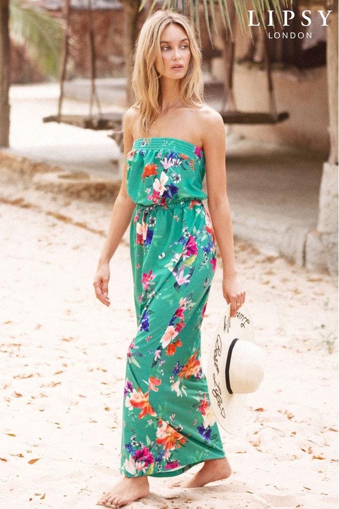Lipsy Floral Maxi Dress - 6 - Green