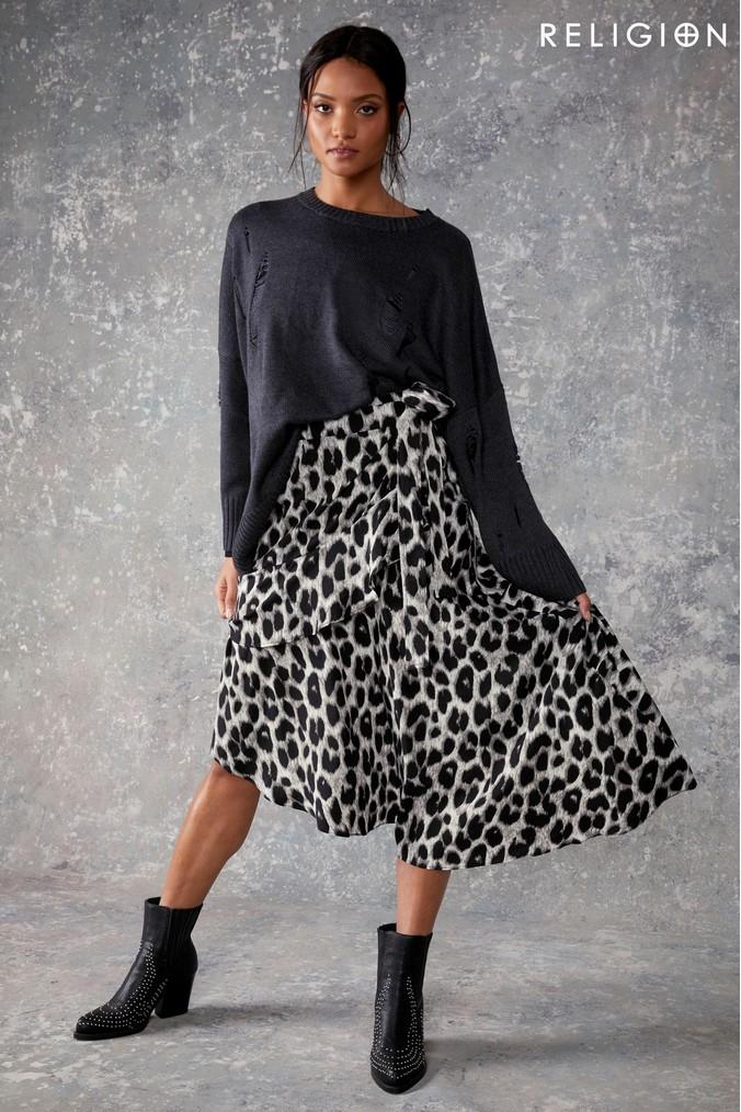 Womens Religion Leopard Print Midi Skirt -  Black