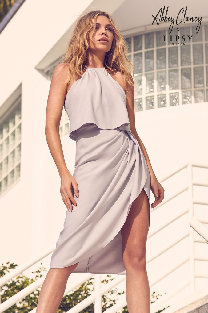 Lipsy Abbey Clancy x Satin Halter Midi Dress - 6 - Silver