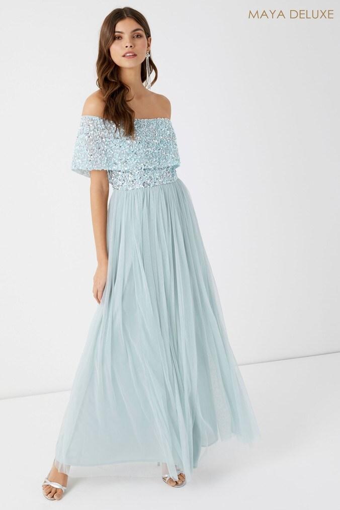 Womens Maya Petite Embellished Bardot Maxi Dress -  Blue