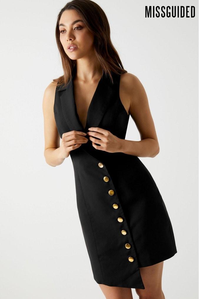 Womens Missguided Asymmetric Button Detail Sleeveless Blazer Dress -  Black