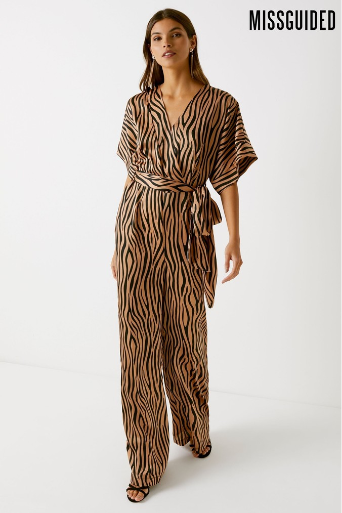 Womens Missguided Satin Animal Print Belted Jumpsuit -  Brown