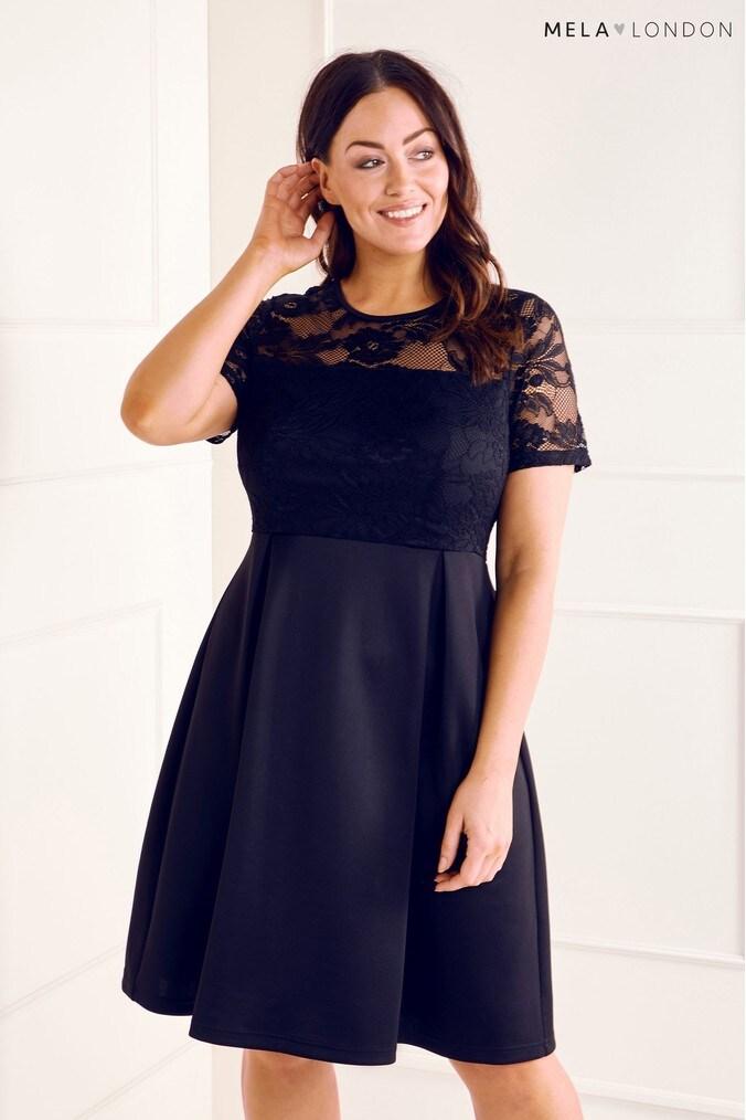 womens mela london curve lace dress -  blue